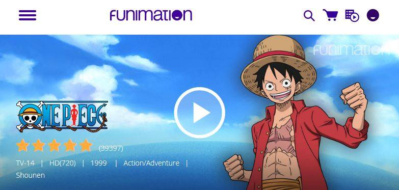 funimation one piece homepage